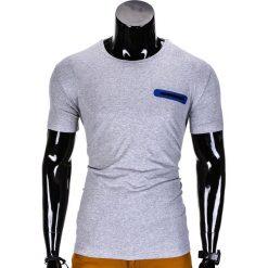 T-SHIRT MĘSKI BEZ NADRUKU S824 - SZARY. Szare t-shirty męskie z nadrukiem Ombre Clothing, m. Za 29,00 zł.