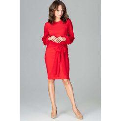 Czerwona Kobieca Wizytowa Sukienka z Prześwitującymi Rękawami. Czerwone długie sukienki Molly.pl, l, eleganckie, z kokardą, z długim rękawem, dopasowane. Za 149,90 zł.