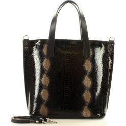 Włoska torebka z naturalnej skóry - MAZZINI SARITA czarny snake. Czarne shopper bag damskie MAZZINI, w paski, ze skóry, na ramię. Za 339,00 zł.