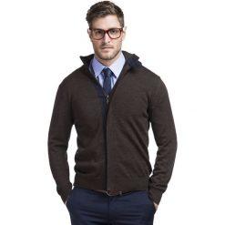 Sweter DAMIANO SWK000070. Brązowe swetry rozpinane męskie Giacomo Conti, na jesień, m, z wełny. Za 299,00 zł.