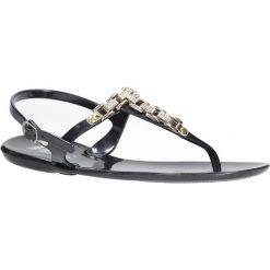 Czarne sandały japonki z cyrkoniami Casu YR18. Czerwone sandały damskie marki Melissa, z kauczuku. Za 19,99 zł.