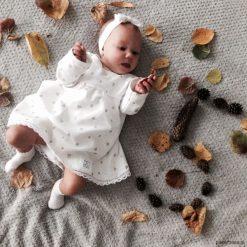 Sukienki niemowlęce: Sukienka ecru MY HEARTS koronka