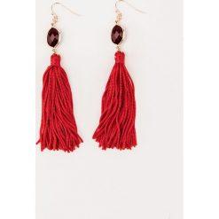 Kolczyki damskie: Tranloev Kolczyki z frędzlami i kamieniem – Red,Gold