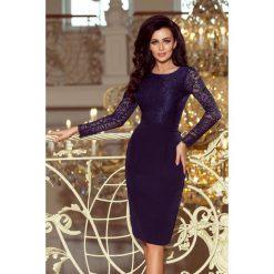 GABI elegancka ołówkowa sukienka z koronką - GRANATOWA. Niebieskie sukienki balowe numoco, s, w koronkowe wzory, z koronki, z długim rękawem, ołówkowe. Za 199,99 zł.