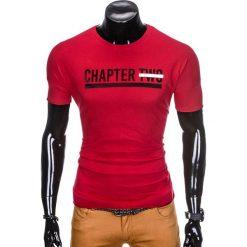 T-shirty męskie: T-SHIRT MĘSKI Z NADRUKIEM S927 – BORDOWY