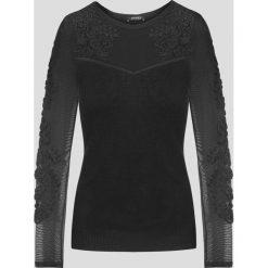 Swetry klasyczne damskie: Sweter z siateczką i aplikacją
