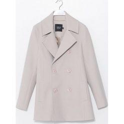 Simple - Płaszcz. Szare płaszcze damskie Simple, z elastanu, klasyczne. W wyprzedaży za 399,90 zł.