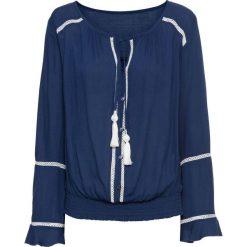 Tunika z wiązanymi troczkami bonprix kobaltowo-kremowy. Niebieskie tuniki damskie marki bonprix. Za 59,99 zł.