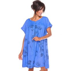 """Sukienki hiszpanki: Lniana sukienka """"Suzy"""" w kolorze niebieskim"""