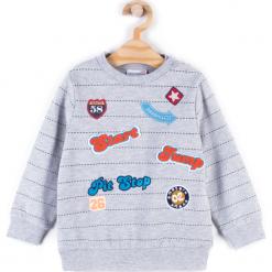 Bluza. Szare bluzy chłopięce rozpinane HEY BOY, z aplikacjami, z bawełny, z długim rękawem, długie. Za 49,90 zł.