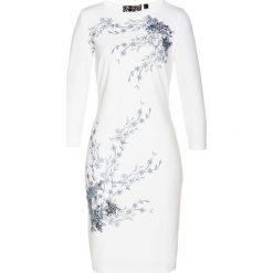 Sukienka bonprix biało-szary z nadrukiem. Białe sukienki dzianinowe marki bonprix, z nadrukiem. Za 129,99 zł.