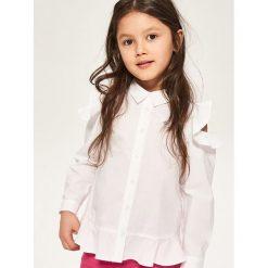 T-shirty dziewczęce: Koszula z falbanami przy rękawach – Biały