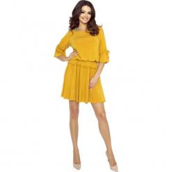 Miodowa Sukienka w Stylu Boho. Żółte sukienki boho Molly.pl, do pracy, s, w jednolite wzory, z tkaniny, z falbankami. W wyprzedaży za 95,34 zł.
