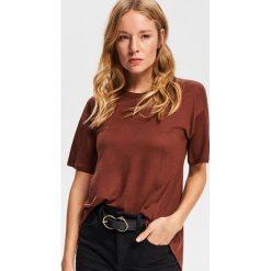 T-shirt z lyocellu - Brązowy. Brązowe t-shirty damskie marki Reserved, l, z lyocellu. Za 49,99 zł.
