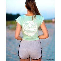 """Koszulka miętowa """"Aloha Hawaii """". Zielone bluzki z odkrytymi ramionami Pakamera, z aplikacjami, z dekoltem na plecach. Za 89,00 zł."""