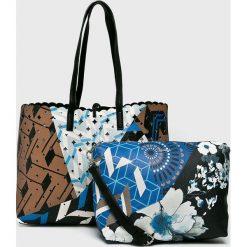 Desigual - Torebka dwustronna. Szare shopper bag damskie marki Desigual, l, z tkaniny, casualowe, z długim rękawem. W wyprzedaży za 279,90 zł.
