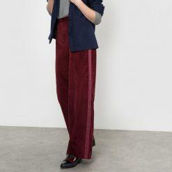 Spodnie z wysokim stanem: Szerokie welurowe spodnie