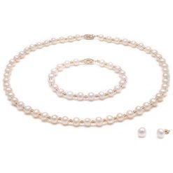 Bransoletki damskie: 3-częściowy zestaw w kolorze złoto-białym - naszyjnik, bransoletka, kolczyki