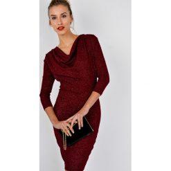 Sukienki hiszpanki: Sukienka brokatowa z lejącym dekoltem