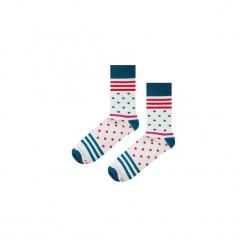 Skarpetki Blue Stripes N Dots. Białe skarpetki męskie marki Soxstory, w paski. Za 16,00 zł.