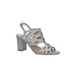Rzymianki damskie: Sandały Kordel  Srebrne sandały skórzane zabudowane ażurowe na obcasie  1684