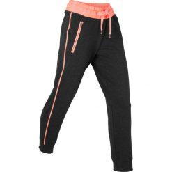 Spodnie sportowe, dł. 7/8, Level 1 bonprix czarno-łososiowy neonowy melanż. Czarne spodnie dresowe damskie bonprix, melanż. Za 74,99 zł.