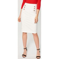 Spódniczki: Ołówkowa spódnica z guzikami – Biały