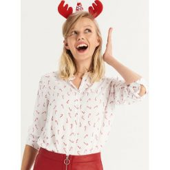 Wzorzysta koszula - Bordowy. Czerwone koszule damskie marki Sinsay, l, z nadrukiem. Za 39,99 zł.