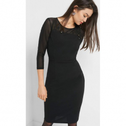 Sukienka z haftem. Czarne sukienki koktajlowe marki Orsay, z haftami, z elastanu, dopasowane. Za 119,99 zł.