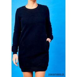 Czarna sukienka dresowa. Szare sukienki balowe marki bonprix, melanż, z dresówki, z kapturem, z długim rękawem, maxi. Za 179,00 zł.