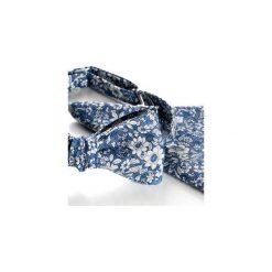 Komplet Mucha wiązana ROTA NIEBIESKI +poszetka +spinki do mankietów. Niebieskie muchy męskie HisOutfit, z materiału, wizytowe. Za 149,00 zł.