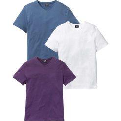 T-shirt z dekoltem w serek (3 szt.) Regular Fit bonprix jagodowy + niebieski dżins + biały. Fioletowe t-shirty męskie marki Reserved, l, z bawełny. Za 74,97 zł.