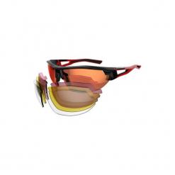 Okulary przeciwsłoneczne na rower XC 100 PACK 4 pary wymiennych szkieł. Czerwone okulary przeciwsłoneczne damskie aviatory ROCKRIDER, z gumy. Za 119,99 zł.