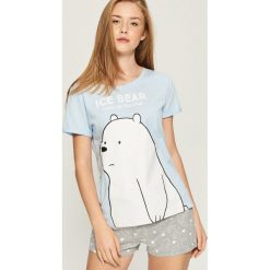 Piżama We Bare Bears - Turkusowy. Szare piżamy damskie marki Sinsay, l, z motywem z bajki. Za 49,99 zł.