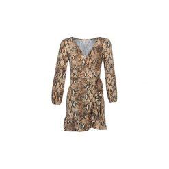 Sukienki krótkie Moony Mood  JANTIL. Brązowe sukienki mini marki Moony Mood, l, z krótkim rękawem. Za 179,00 zł.