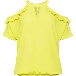 Bluzka z wycięciami i falbanami bonprix pistacjowy. Zielone bluzki z odkrytymi ramionami bonprix, ze stójką. Za 49,99 zł.