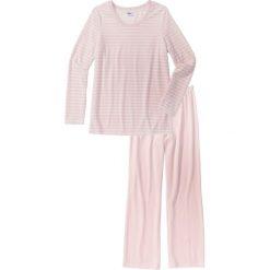 """Piżamy damskie: Piżama """"Nicky"""" bonprix biel wełny – pastelowy jasnoróżowy w paski"""