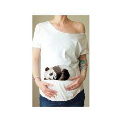 Biały ciążowy oversize tshirt panda. Białe bluzki ciążowe One mug a day, s, z nadrukiem, z bawełny. Za 89,00 zł.