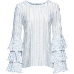 Bluzka z falbanami bonprix biel wełny - jasnoniebieski w paski. Białe bluzki asymetryczne bonprix, w paski, z wełny, z okrągłym kołnierzem, z długim rękawem. Za 49,99 zł.