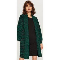 Swetry damskie: Kardigan z szalowym kołnierzem – Zielony