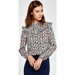 Bluzki damskie: Wzorzysta Koszulowa Bluzka z Falbankami