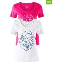 Koszulki (2 szt.) w kolorze różowym i białym. Czerwone t-shirty damskie H.I.S, xs, z nadrukiem, z bawełny, z okrągłym kołnierzem. W wyprzedaży za 73,95 zł.