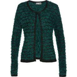 Sweter rozpinany z przędzy z długim włosem bonprix głęboki zielony - czarny. Zielone kardigany damskie bonprix. Za 74,99 zł.
