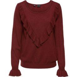 Sweter z falbaną bonprix czerwony kasztanowy. Czerwone swetry klasyczne damskie bonprix. Za 89,99 zł.