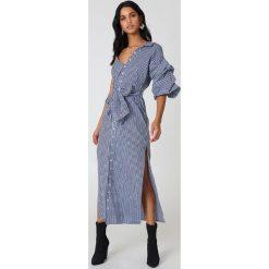Sukienki hiszpanki: Hot & Delicious Sukienka w kratę z odkrytym ramieniem – Multicolor,Navy