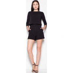 Odzież damska: Czarny Dwuwarstwowy Kombinezon z Krótkimi Nogawkami