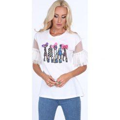 Bluzka z tulowymi rękawami biała 22278. Białe bluzki z odkrytymi ramionami marki Fasardi, l. Za 47,20 zł.