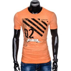T-SHIRT MĘSKI Z NADRUKIEM S896 - POMARAŃCZOWY. Brązowe t-shirty męskie z nadrukiem marki Ombre Clothing, m. Za 39,00 zł.