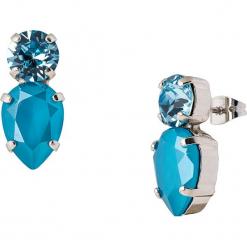 Kolczyki-wkrętki z kryształkami Swarovski. Niebieskie kolczyki damskie Destellos, z kryształem, metalowe. W wyprzedaży za 77,95 zł.