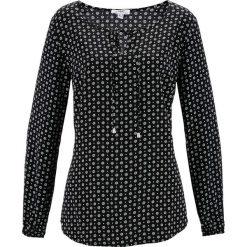 Bluzka z długim rękawem bonprix czarno-biel wełny z nadrukiem. Czarne bluzki longsleeves marki bonprix, z nadrukiem, z wełny. Za 59,99 zł.
